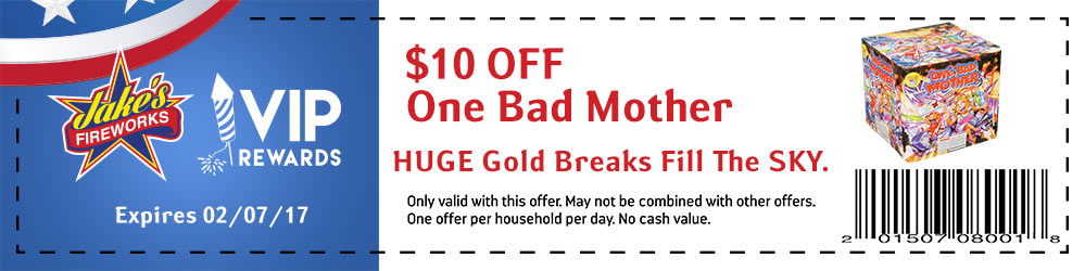 One Bad Mother firework coupon