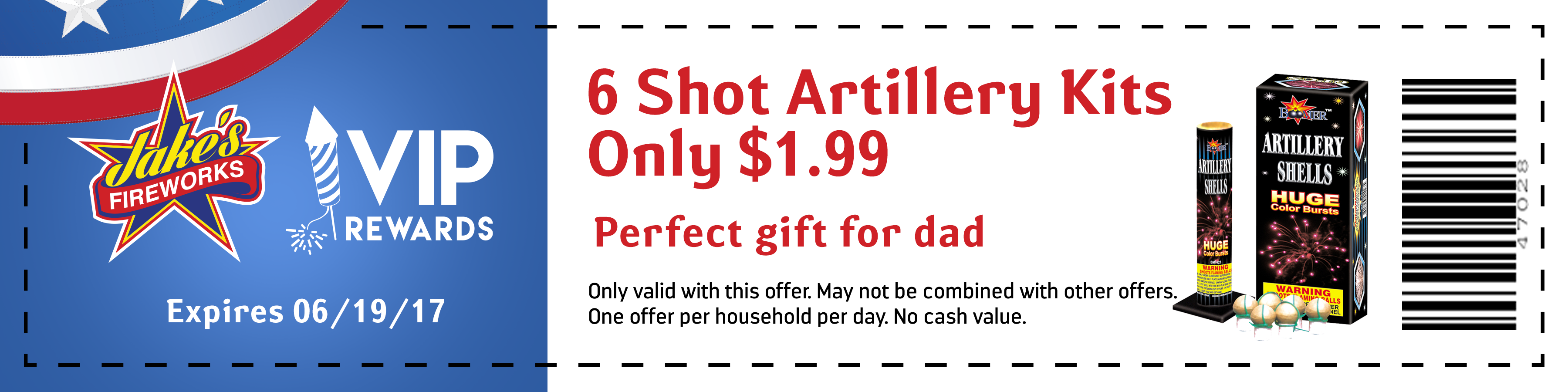 6 shot artillery firework coupon