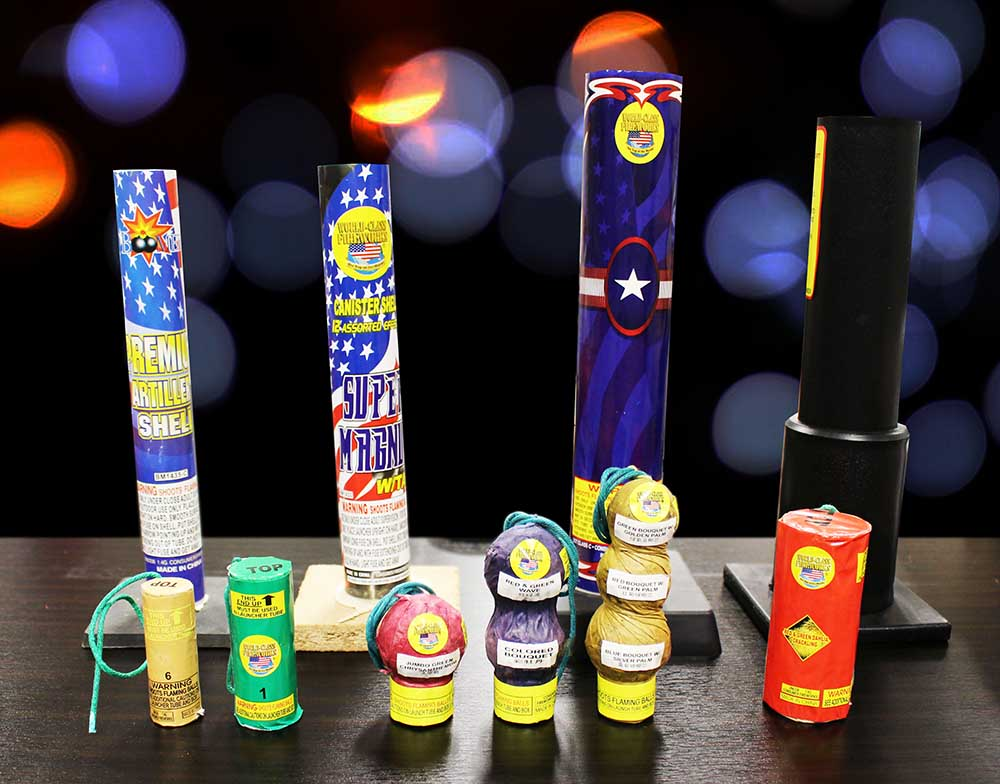 artillery shell fireworks and tubes