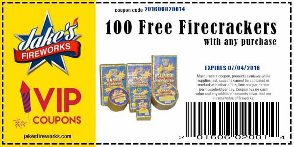 FREE 100 Pack Firecrackers Coupon